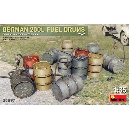 MIN35597 - Miniart 1:35 - German 200L Fuel Drums Set WWII