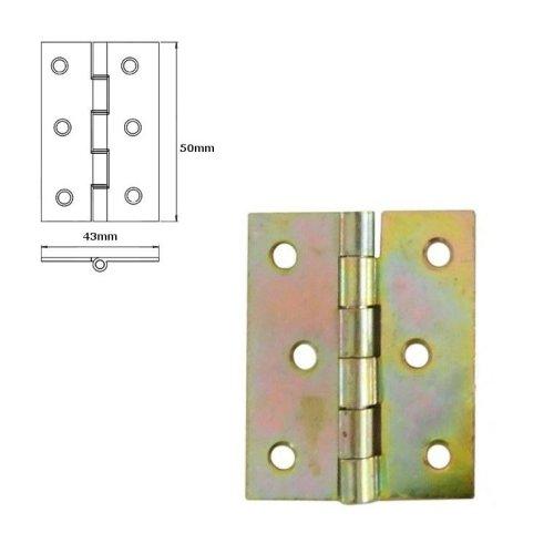 20 Pcs Folding Closet Cabinet Door Butt Hinge Brass Plated 50x43mm