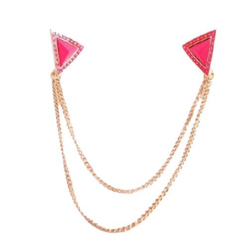 Angle Collar Shirt Collar Pin Collar Chain Brooch Decoration, Rose Red