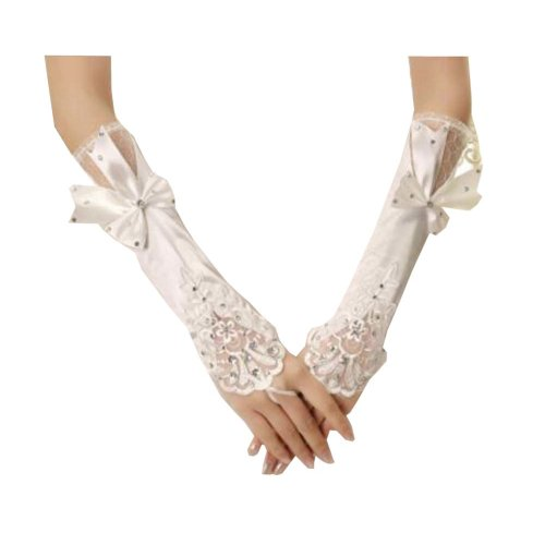 Women Bridal Long Lace Gloves Elbow Fingerless Wedding Party Costume Prom - A3