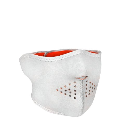 Half Face Reversible Neoprene Ski Mask - White / Hi Vis Orange