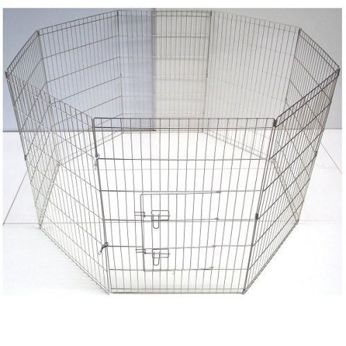 Puppy Play Pen Pet Enclosure – Silver