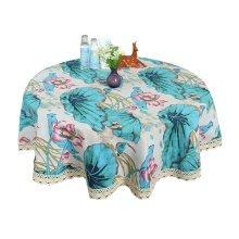 """National Flavor COTTON&LINEN Round Tablecloth-Lotus, 120*120cm/47*47"""""""