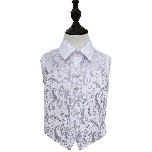 Silver Floral Wedding Waistcoat for Boys 26'