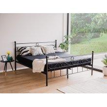 Metal Bed - King Size Bed Frame - Black - LEPUS