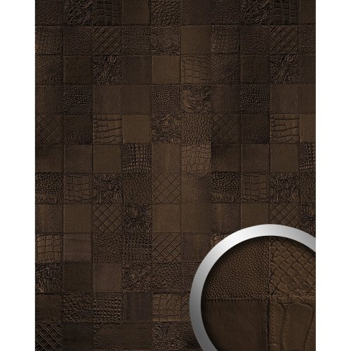 WallFace 15038 COLLAGE Wall panel leather wallcovering mocca-brown | 2.60 sqm