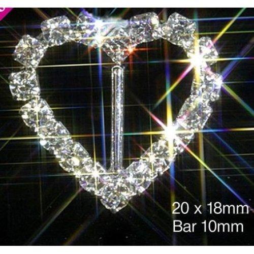 10 x Silver Heart Diamante Rhinestone Ribbon Buckle Slider With Vertical Bar