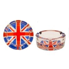 Glass Union Jack Ashtray Novelty Souvenir Gift UK GB Flag UJ Smokers Collectible