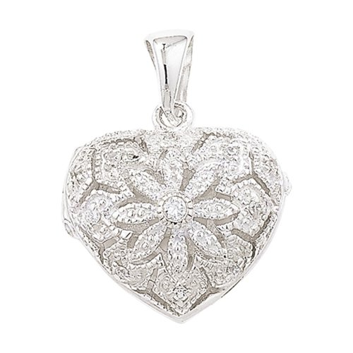 Childrens Sterling Silver Cubic Zirconia Filigree Heart Locket On A Curb Necklace