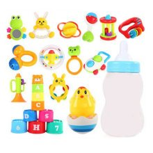 Teeth Biting Educational Toys Teether Hand Bell Toys Newborn Gift Set for Babies,12 Pcs+Tumbler+Cup