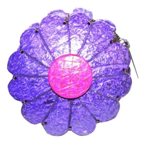 Money Bags Waterproof Change Purse Pouch Wallet with Zipper Flower Shape Purple