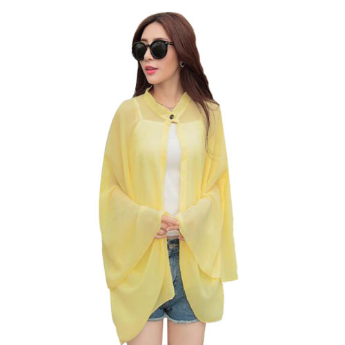 Sun Protective Clothing Women's Clothing Wraps Scarf Long Sleeve Shirts Yellow