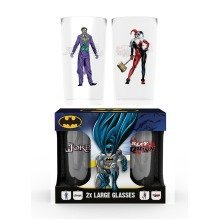 Batman Comic Joker and Harley Quinn Large Glasses Twin Pack