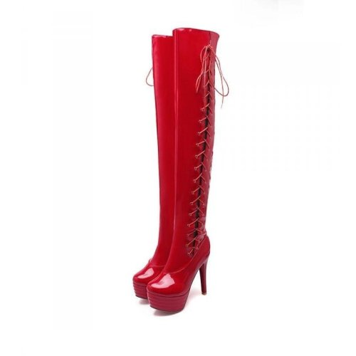 size 32-43 women high heel over knee boots cross strap winter warm riding long boot sexy heels footwear shoes P20688