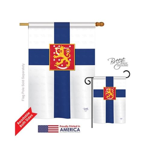Breeze Decor 08103 Finland 2-Sided Vertical Impression House Flag - 28 x 40 in.
