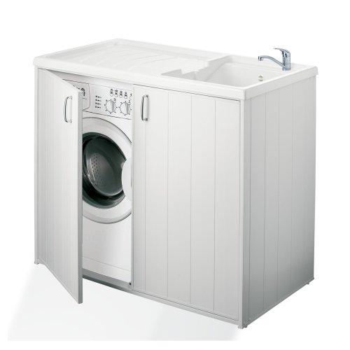 Negrari 6008SPPLK Reversible Washing Machine Cabinet and Sink, Resin, White, 109x 60x 94cm