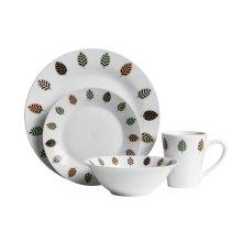 16Pc Elm Dinner Set, White Porcelain