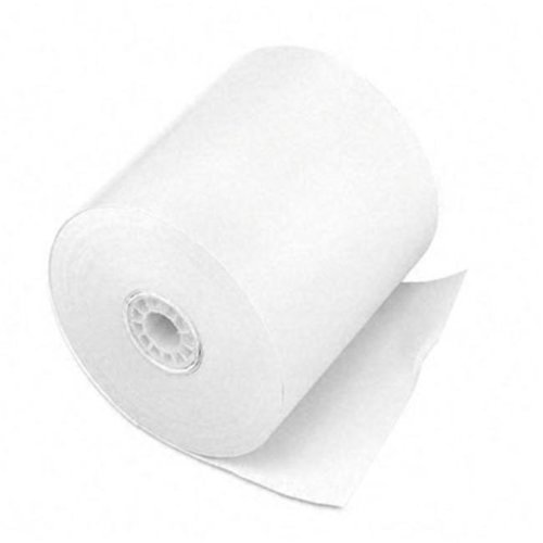 "PM Company 07702 One-Ply Cash Register/Point of Sale Rolls- 3"" x 150 ft- White- 50/Carton"