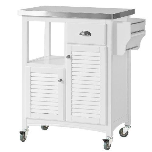 SoBuy® FKW37-W, Kitchen Storage Trolley with Stainless Steel Worktop