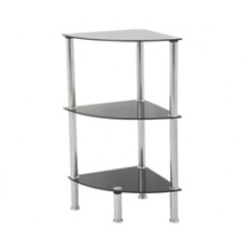 King Black Glass 3 Tier Modern Organisation Rack, Corner Shelving Shelf Unit, Shelf Width 30cm x 30cm