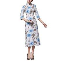 Vintage Elegant Dress Cheongsam Long Qipao Party Dresses for Women, #08