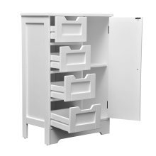 Homcom White Wooden Cabinet W/ 4 Drawers & Cupboard