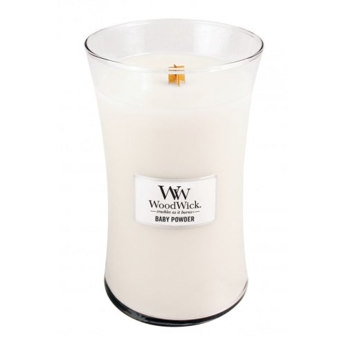 Woodwick 22oz Large Scented Candle Jar with Wood Lid Baby Powder