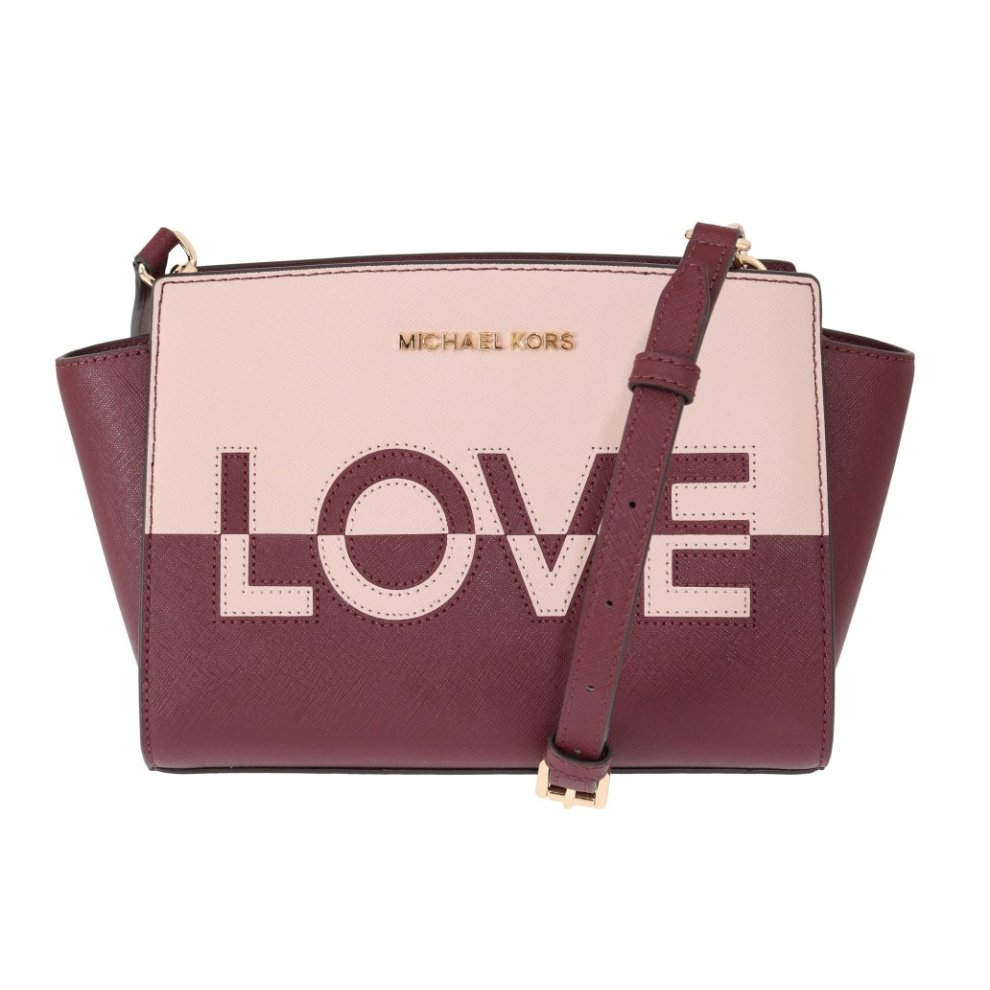 10fca6a1a4ad6d Michael Kors Handbags Red Pink SELMA Leather Messenger Bag on OnBuy