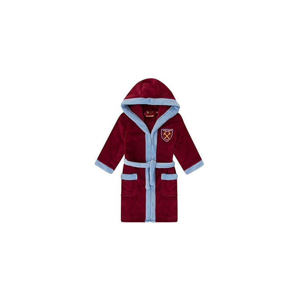 West Ham United Fc Official Gift Boys Fleece Dressing Gown Robe 5 6