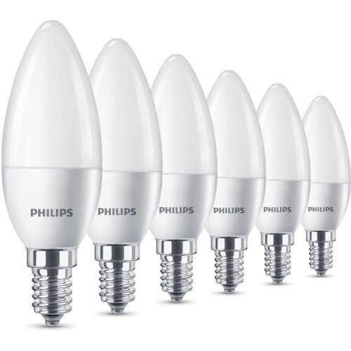 Philips LED E14 Small Edison Screw Candle Light Bulb - Warm White, Pack of 6