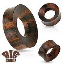 Large Rimmed Organic Wood Saddle Plug Ear Flesh Tunnel Earring