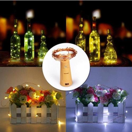 (Blue) Battery Powered 15LEDs Cork Shaped Wine Bottle Night Fairy String Light for Christmas Party