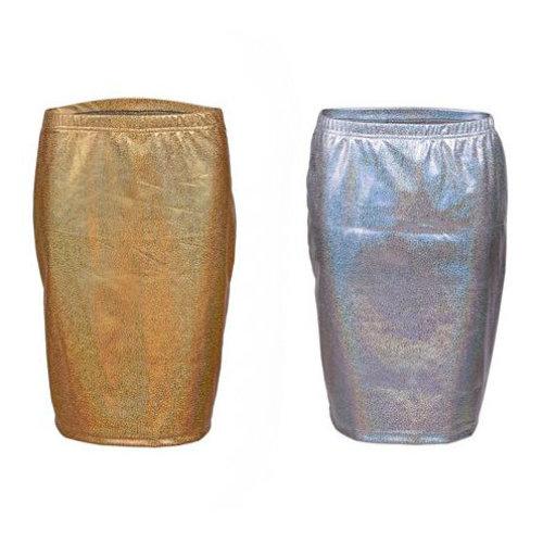 Shiny Metallic Pencil Skirt