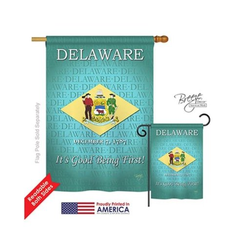 Breeze Decor 08139 States Delaware 2-Sided Vertical Impression House Flag - 28 x 40 in.