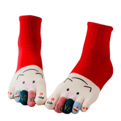 Tube Toe Socks Cotton Soft House Socks Cartoon Cute Socks-A06
