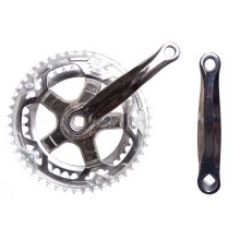 BIKE/CYCLE DOUBLE CHAINSET CRANKSET 38/48 TEETH 150MM Clear guard & silver (NEW)