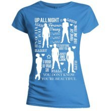 Small Blue One Direction Silhouette Lyrics Ladies T-shirt.