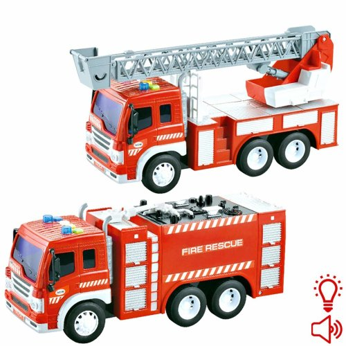 deAO Toys 1:16 Model Scale Friction Powered Fire Truck and Fire Rescue Ladder Truck with Lights and Sounds – Early Education Toy Car for Toddlers and Kids (2 Pack)