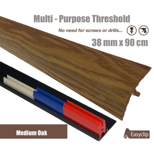 Medium Oak Multi Purpose Threshold Strip 38x90cm Adhesive Clip System