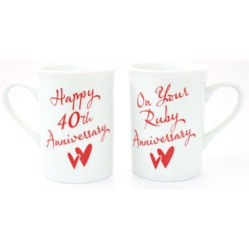 Gift Set of two Mugs 40th Anniversary by Juliana