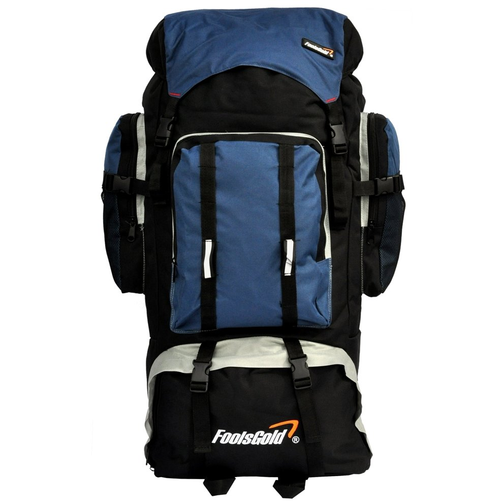 865d448bfe12 foolsGold Extra Large Hiking Travel Backpack Camping Rucksack Top and  Bottom Loading (Navy)