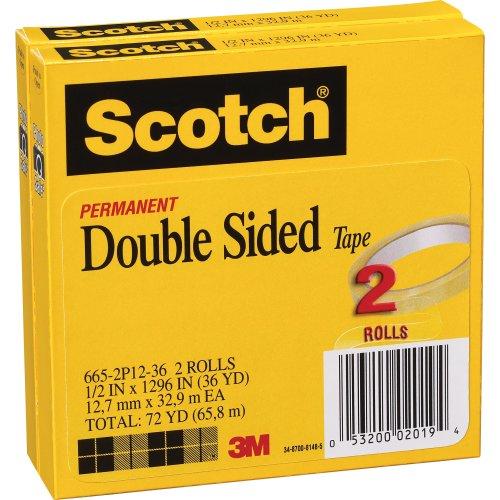 "Scotch Double Sided Tape 2/Pkg-1/2""X1296"""