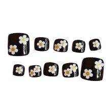 Flower Black Short Artificial False Nails Tips False Toenails Nail Decoration