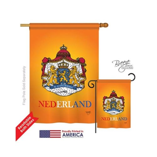 Breeze Decor 08094 Netherlands 2-Sided Vertical Impression House Flag - 28 x 40 in.