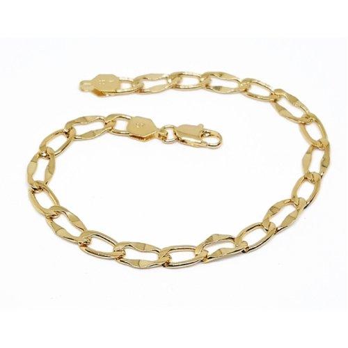 New 9 CT Gold Filled Hammered Link Bracelet for Mens 22x6MM B29