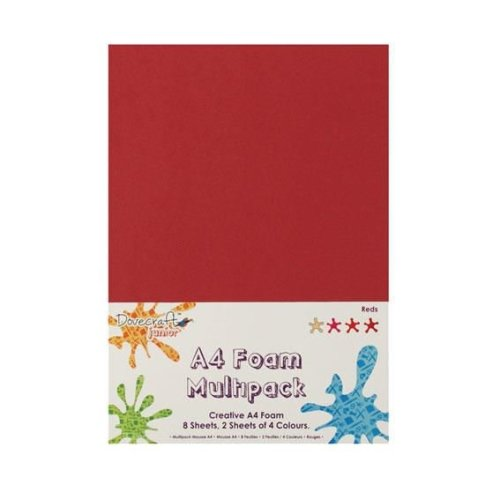 Dovecraft A4 Foam Sheets - 8 Sheets in 4 colours - Reds