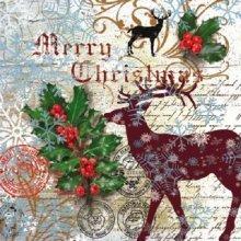 Ti-Flair Pack of 20 Napkins / Serviettes - Santa Claus Postage - 33cm x 33cm - 3ply
