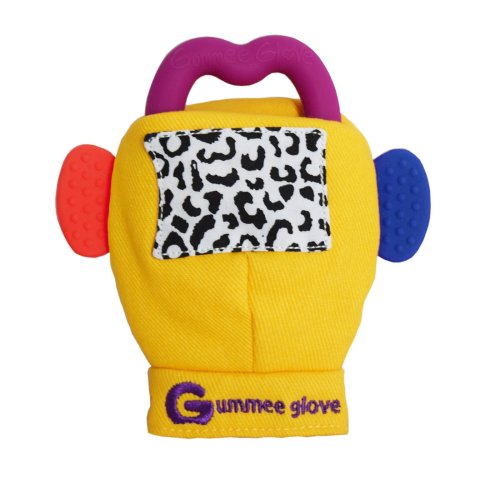 Gummee Glove Yellow Teething Mitten with Silicone Ring