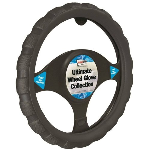 Black Grip Steering Wheel Cover Leather Look Universal 37-39cm