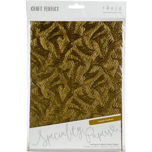 Craft Perfect Handcrafted Cotton Papers A4 5/Pkg-Copper Feathers